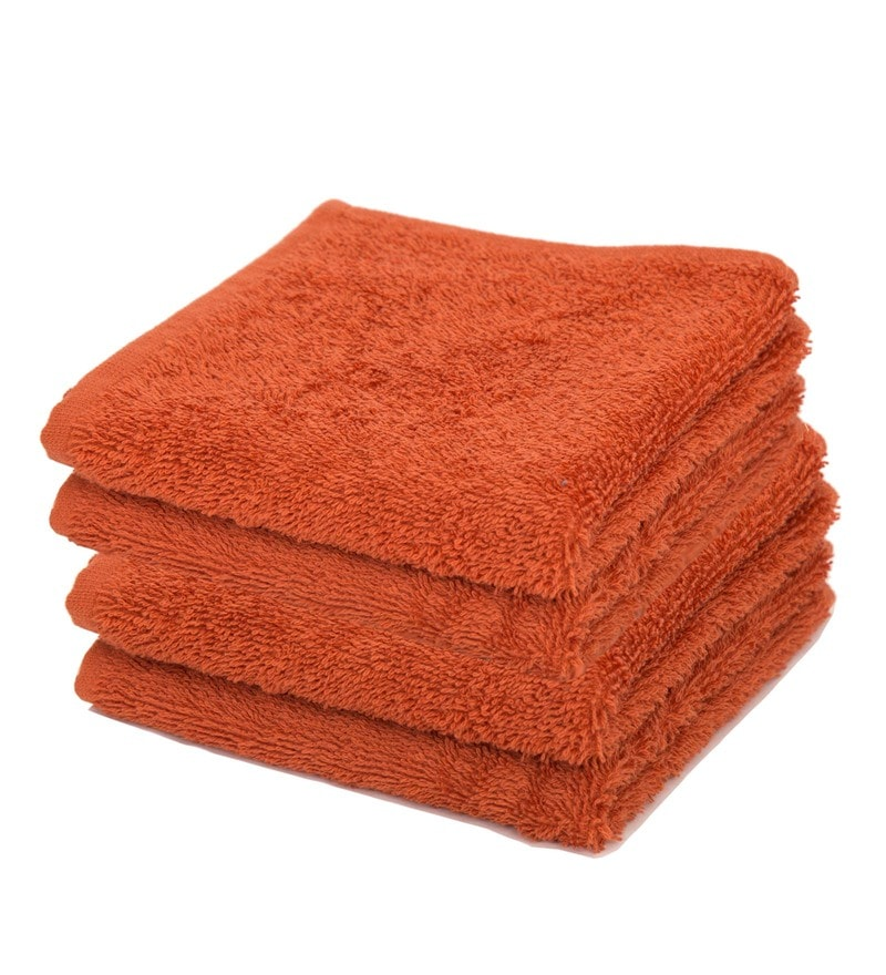 Orange 100% Cotton Face Towels - Set of 4 by Maspar