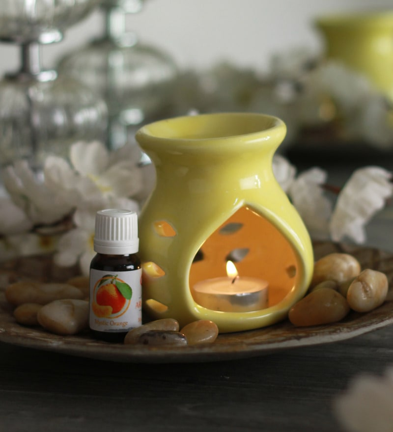 Orange Mystic Aroma Oil with Ceramic Diffuser Pot & Tea Light Candle