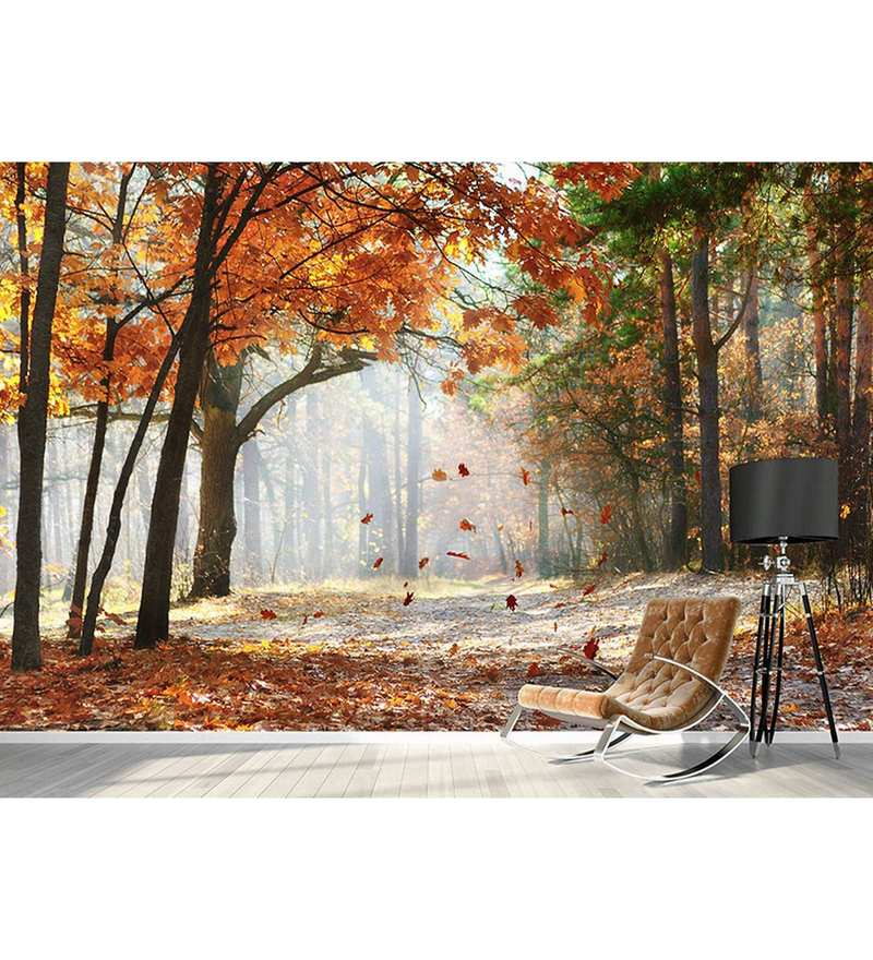 Orange Non Woven Paper The Autumn Forest Wallpaper by Wallskin
