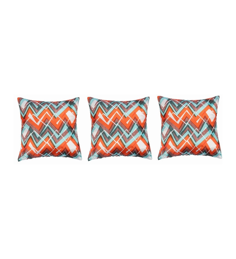 Orange Polyester 16x16 Inch Cushion Covers - Set of 3 by Dreamscape