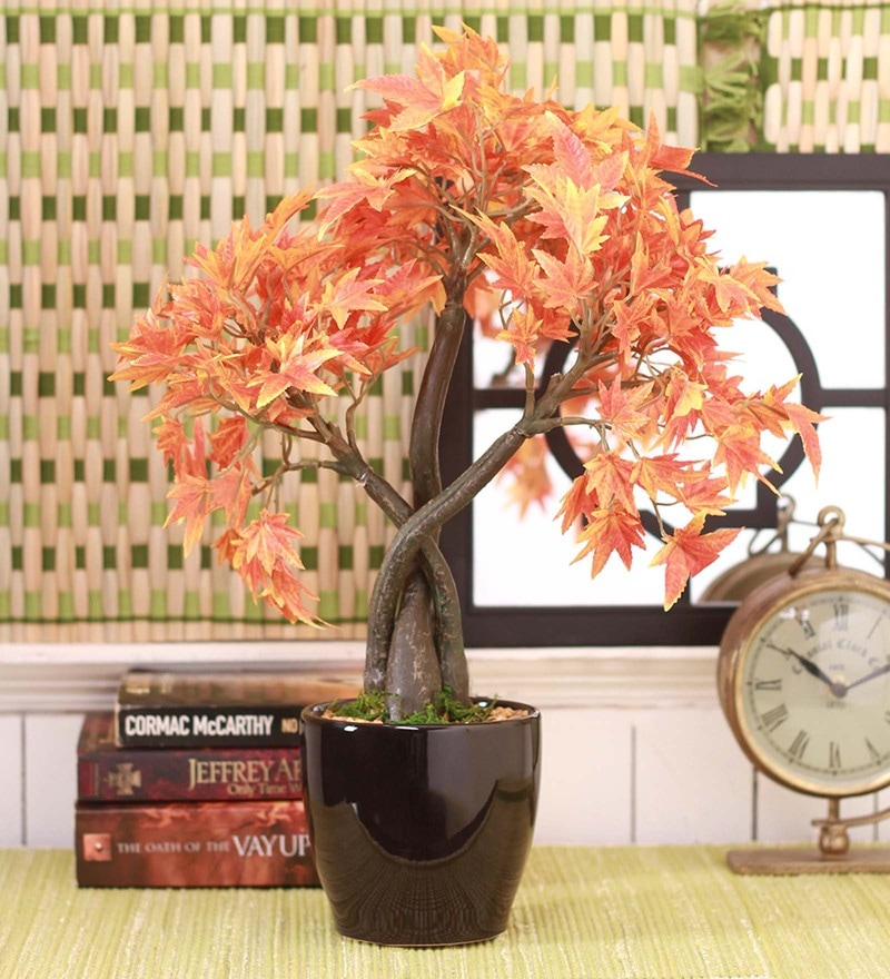 Orange Polyester Artificial Japanese Maple Plant by Fourwalls