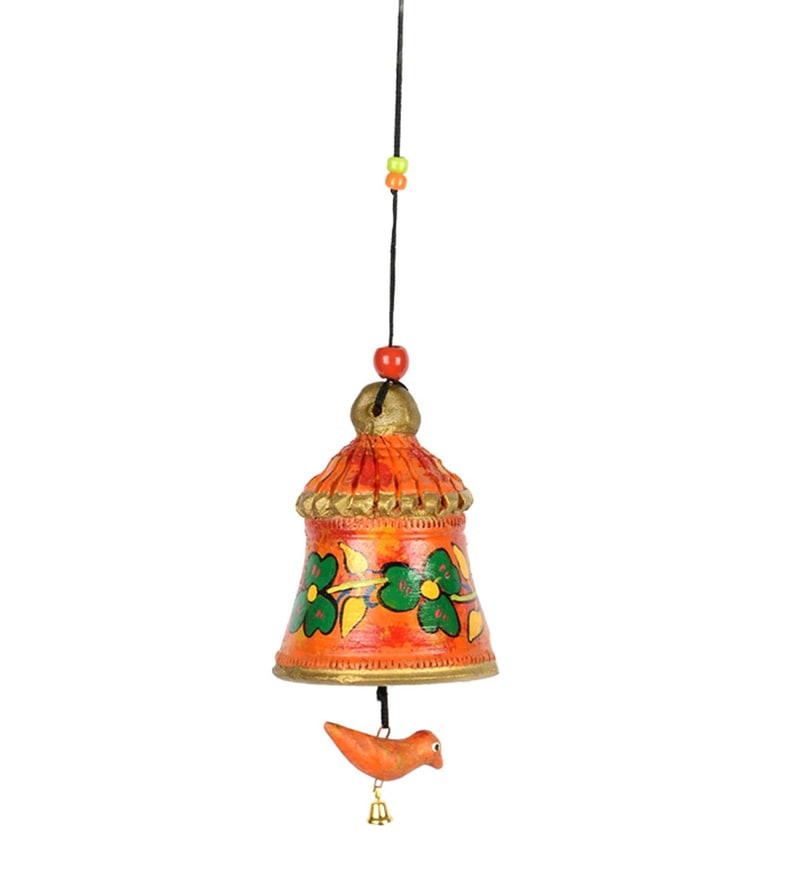 Orange Terracotta Handpainted Decorative Bell Hanging With Bird by ExclusiveLane