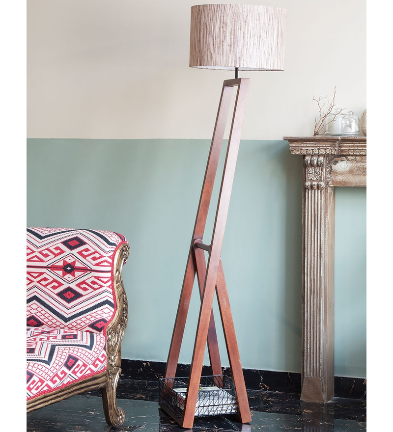 Brown Cotton Zerin Floor Lamp by Orange Tree