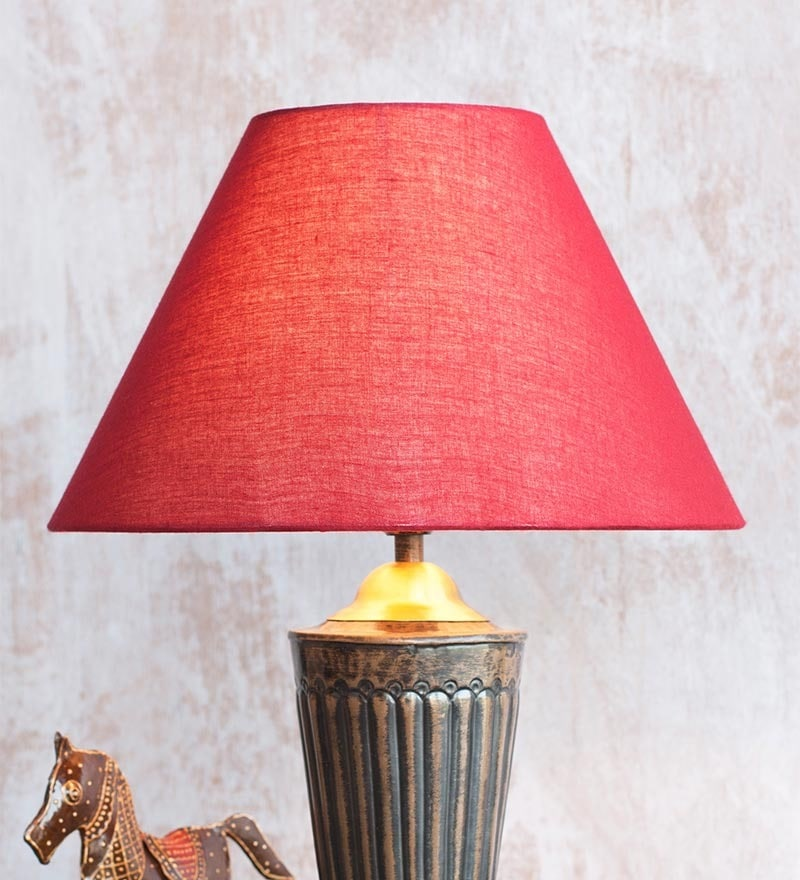 Red Rayon Conical Lamp Shade by Orange Tree