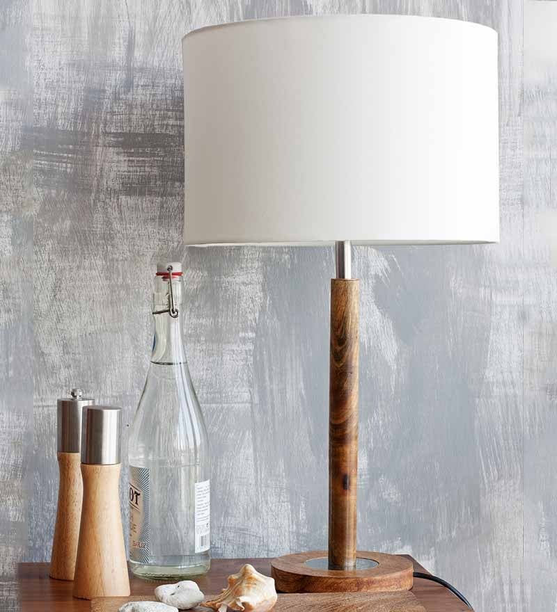 Duco Table Lamp Walnut & Off White by Orange Tree