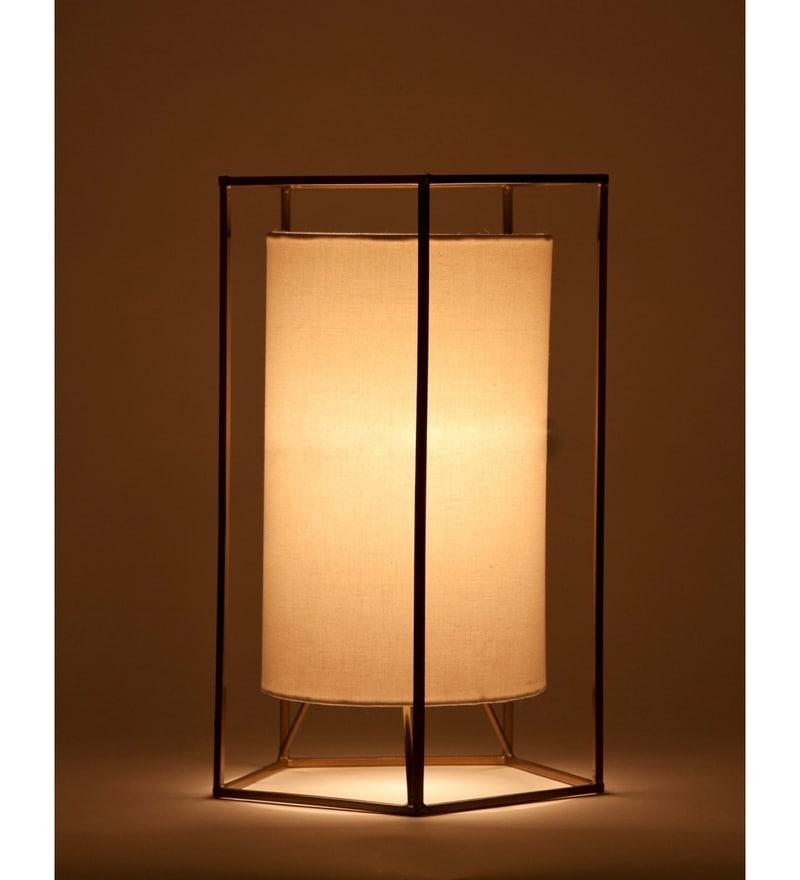 White Cotton Cybil Table Lamp by Orange Tree