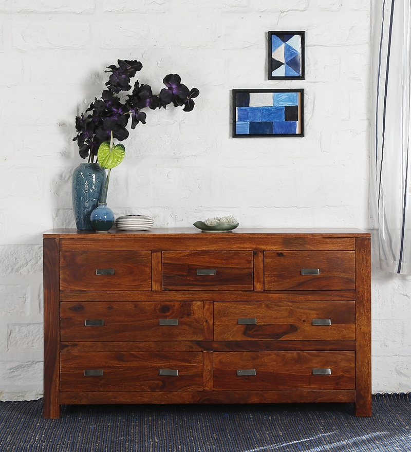 Oriel Chest of Seven Drawers in Honey oak Finish by Woodsworth
