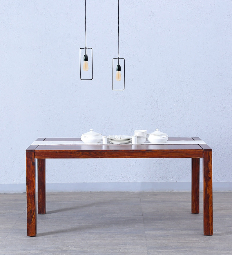 Oriel Six Seater Dining Table in Honey oak Finish by Woodsworth