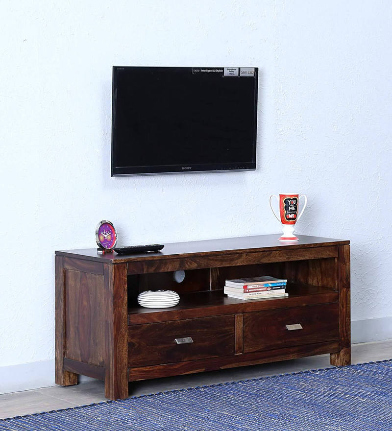 Oriel Two Drawer Entertainment Unit in Provincial Teak Finish by Woodsworth