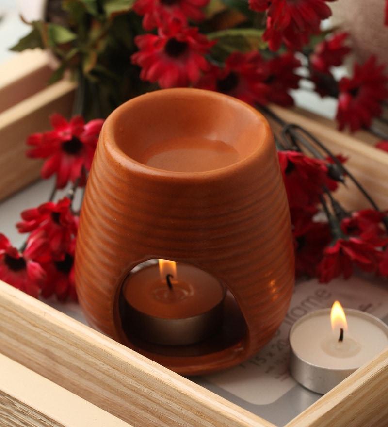 Brown Clay Aroma Burner by Orlando's Decor