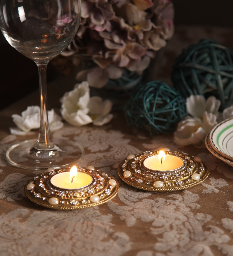 Gold Brass Rangoli Diya Tea Light Holder with Diamonds by Orlando's Decor