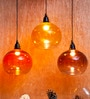 Yellow Iron and Glass Vial Hanging Lamp by Orange Tree