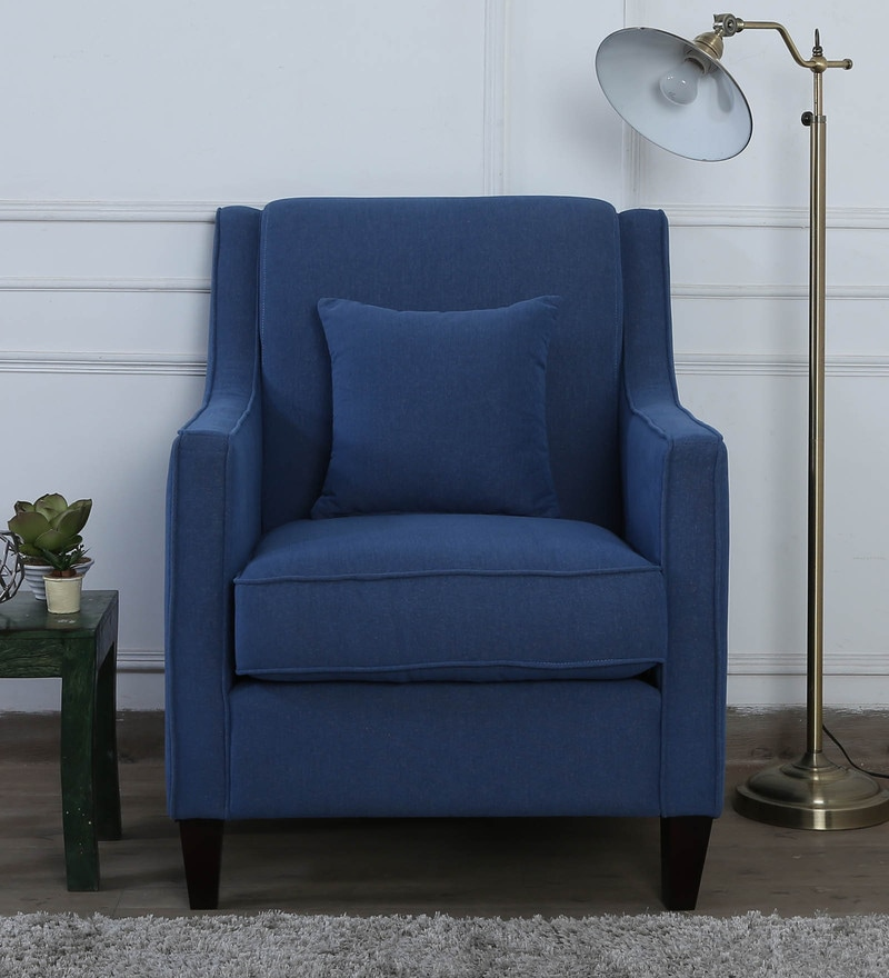 Oscar One Seater Sofa in Denim Blue Colour by CasaCraft