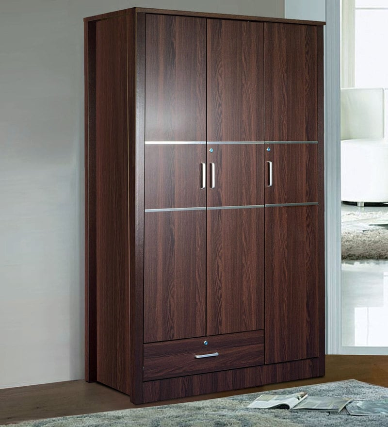 Osen Three Door Wardrobe with Drawer on Bottom in Walnut Finish by Mintwud