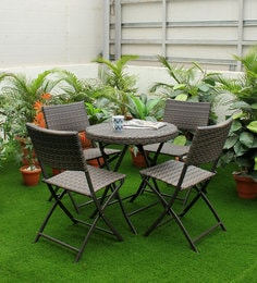 Outdoor Four Seater Dining Set In Dark Brown Colour
