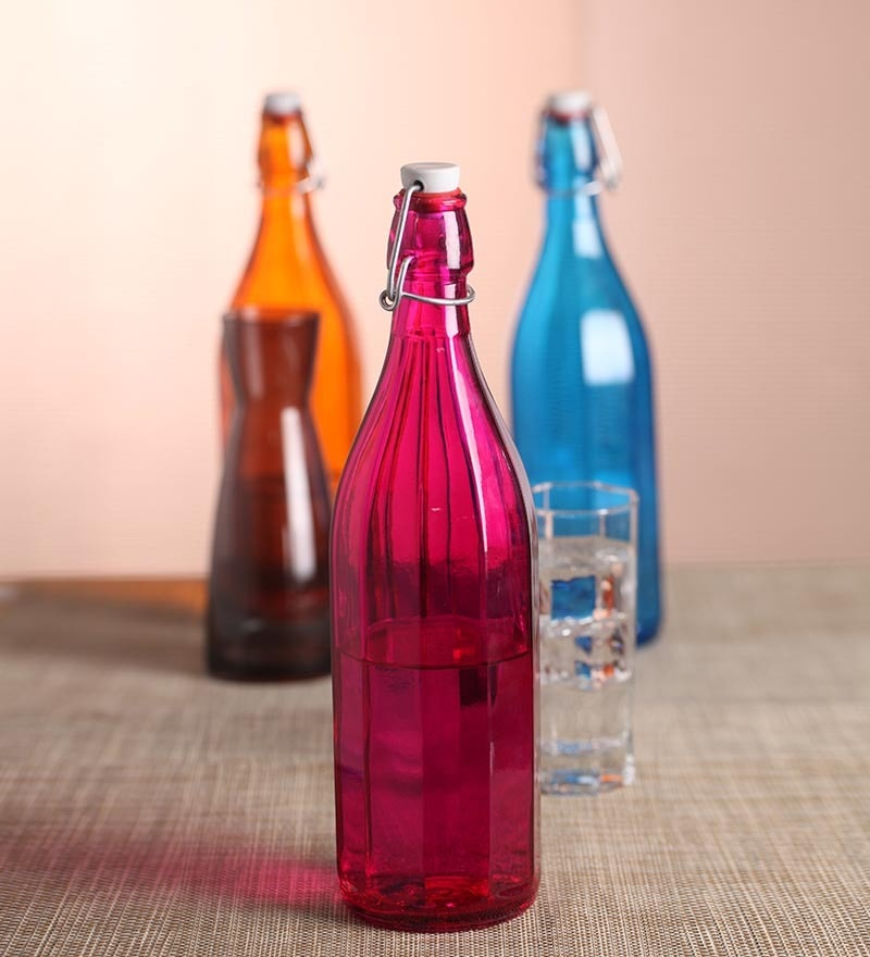 Bormioli Rocco Pink Oxford Pink Glass 1000 ML Bottles- Set of 2