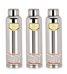 Paanjo Stainless Steel 900 ML Fridge Water Bottles - Set Of 3