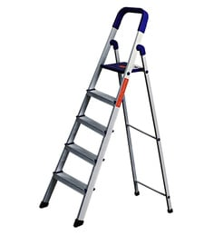 Paffy Home Pro PPCP & Aluminium 5 Steps 3.9 FT Folding Ladder