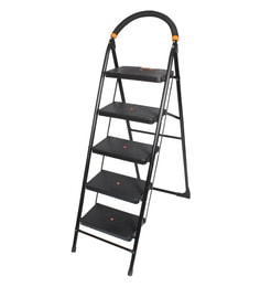 Paffy Milano Steel & Rubber 5 Steps 3.8 FT Wide Steps Folding Ladder