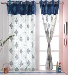 Paisley Design Blue Color Premium Cotton Eyelet 5 X3 8 Feet Window Curtain