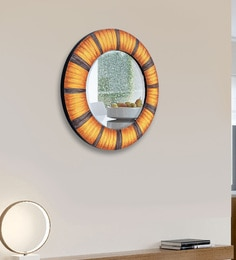 Panash Art Multicolour Wood And Glass Sand Art Decorative Mirror - 1605171