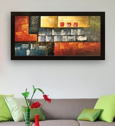 canvas 40 x 05 x 28 inch abstract art hand framed paintings - Living Room Paintings