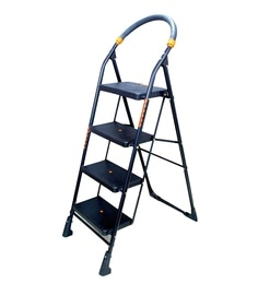 Parasnath Black Heavy Folding Ladder With Wide Steps Milano 4 Steps 4.1 Ft Ladder