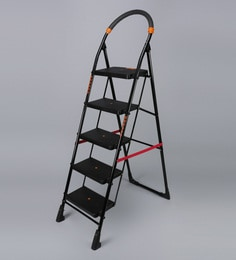 Parasnath Black Heavy Folding Ladder With Wide Steps Milano 5 Steps 5.1 Ft Ladder