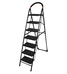 Parasnath Black Heavy Folding Ladder With Wide Steps Milano 7 Steps 7.1 Ft Ladder