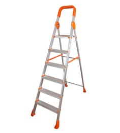 Parasnath Titanium Orange 6 Step 6.1 Ft Light Weight Full Aluminium Heavy Duty Folding Ladder