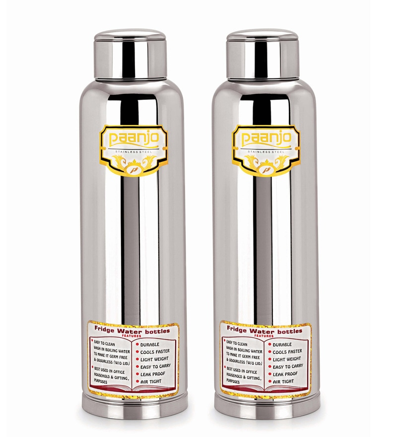 Paanjo Silver Stainless Steel 900 ML Fridge Bottle - Set Of 2