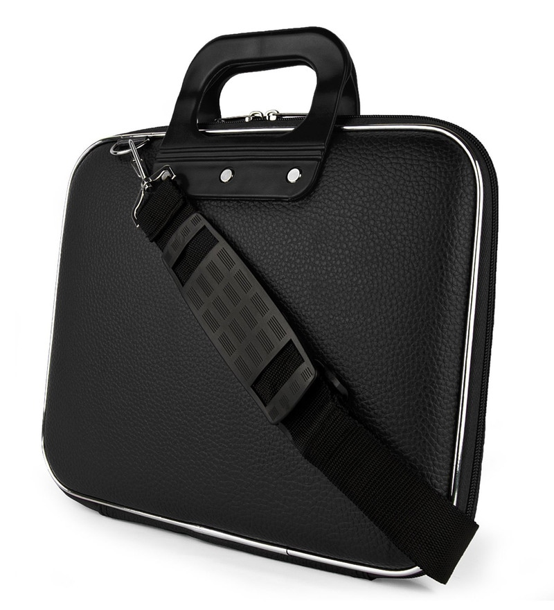 PackNBUY Fabric Black Hard Case Laptop Bag with Sling