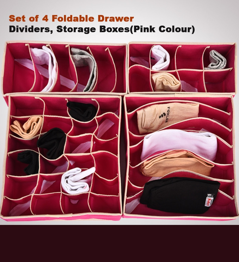 Paffy Non-Woven Pink Foldable Non Smell Wardrobe Organisers - Set of 4
