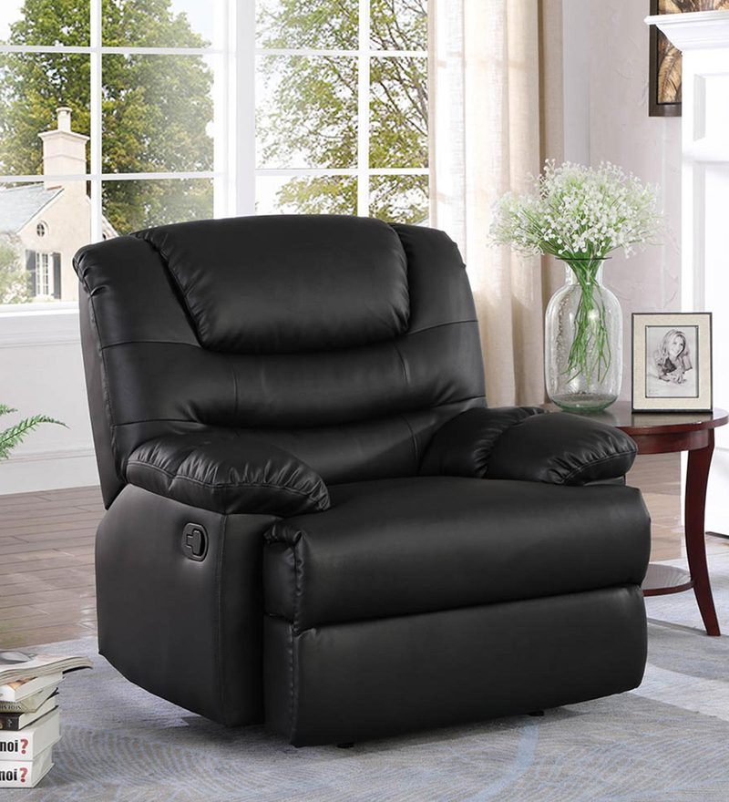 Palmarez One Seater Manual Recliner in Black Colour by CasaCraft