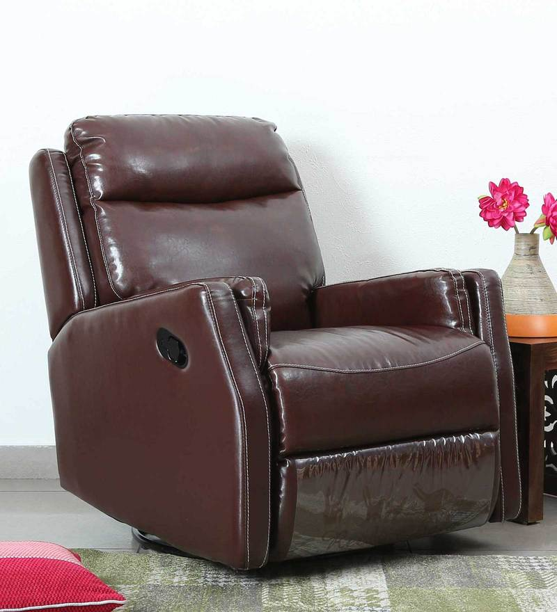 Panama One Seater Recliner with Rocker & Swirl feature in Tan Leatherette by CasaCraft