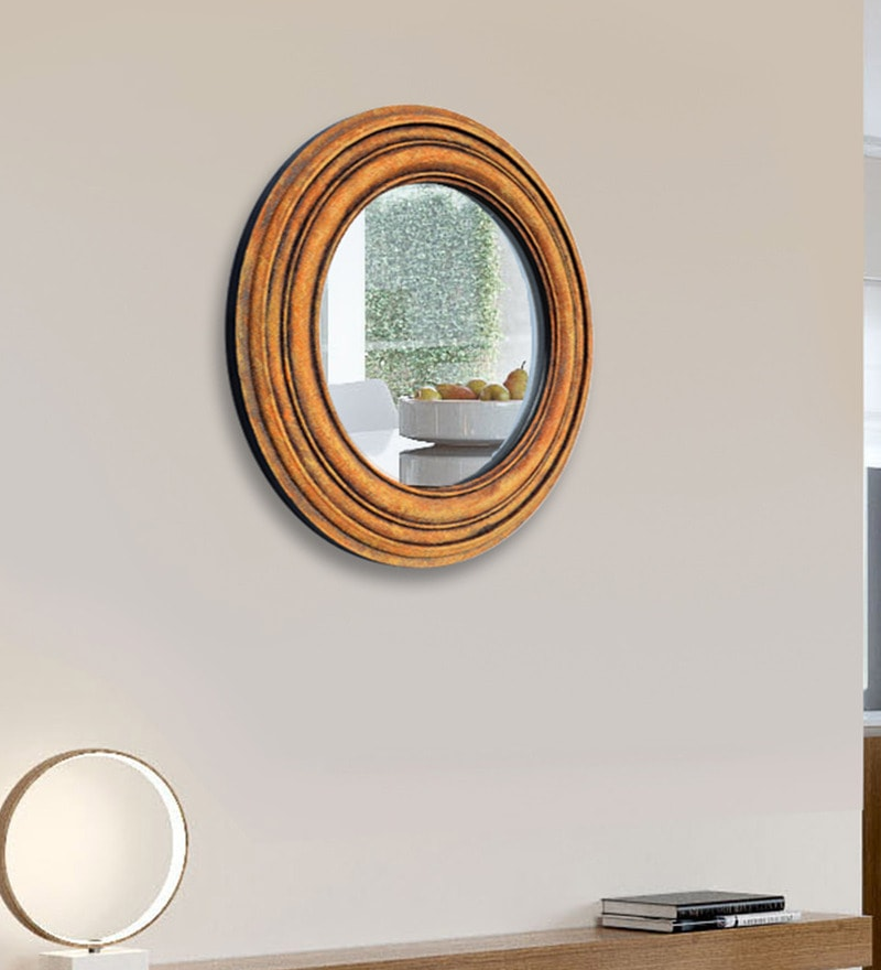 Brown Wood and Glass Sand Art Decorative Mirror by Panash Art