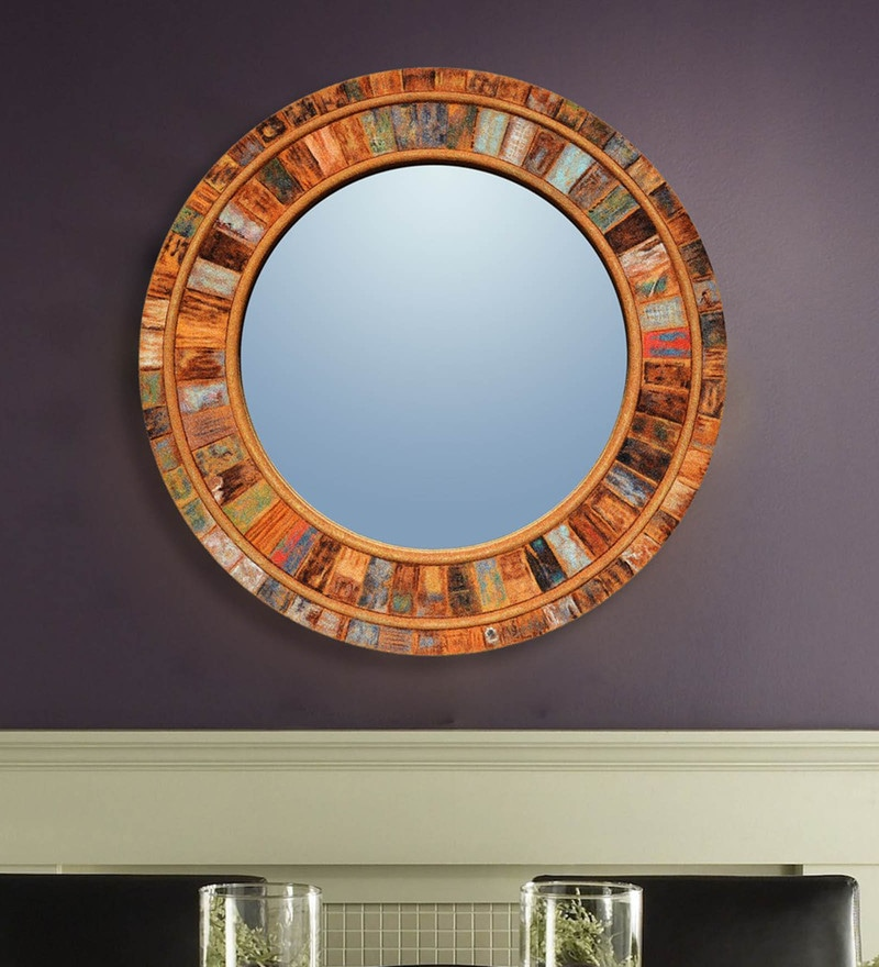 Multicolour Wood and Glass Sand Art Decorative Mirror by Panash Art