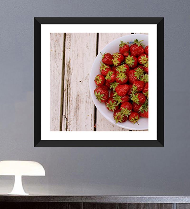 Paper & Glass 12 x 12 Inch Strawberries Framed Digital Art Prints by Tallenge