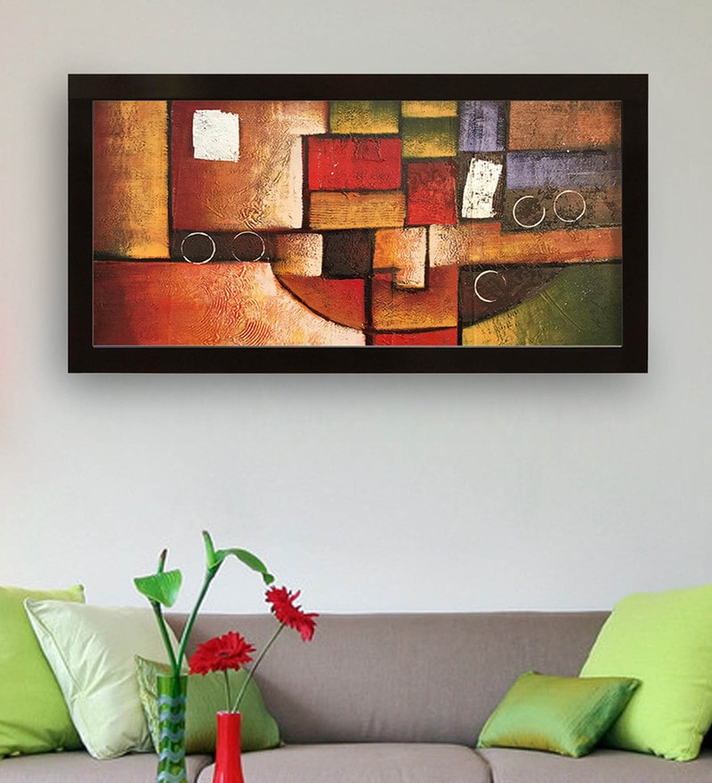 Canvas 40 x 0.5 x 28 Inch Abstract Art Hand Framed Paintings by Gallery99