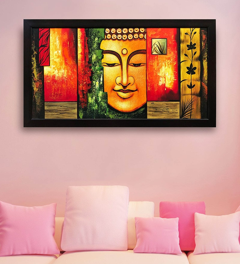 Canvas 40 x 0.5 x 28 Inch Budha Hand Framed Paintings by Gallery99