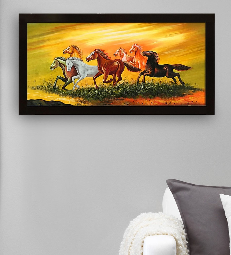 Canvas 40 x 0.5 x 28 Inch Seven Running Horses Hand Framed Paintings by Gallery99