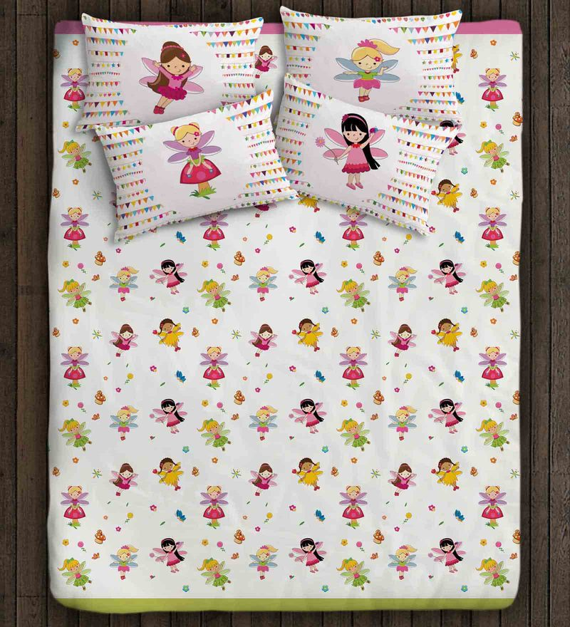 Fairy Princess White Cotton Double Bedsheet for Girls by Paper Rockets