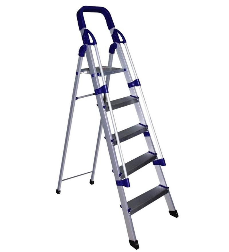 Parasnath Railing Home Pro 5 Step 5.1 Ft Light Weight Full Aluminium Heavy Duty Folding Ladder