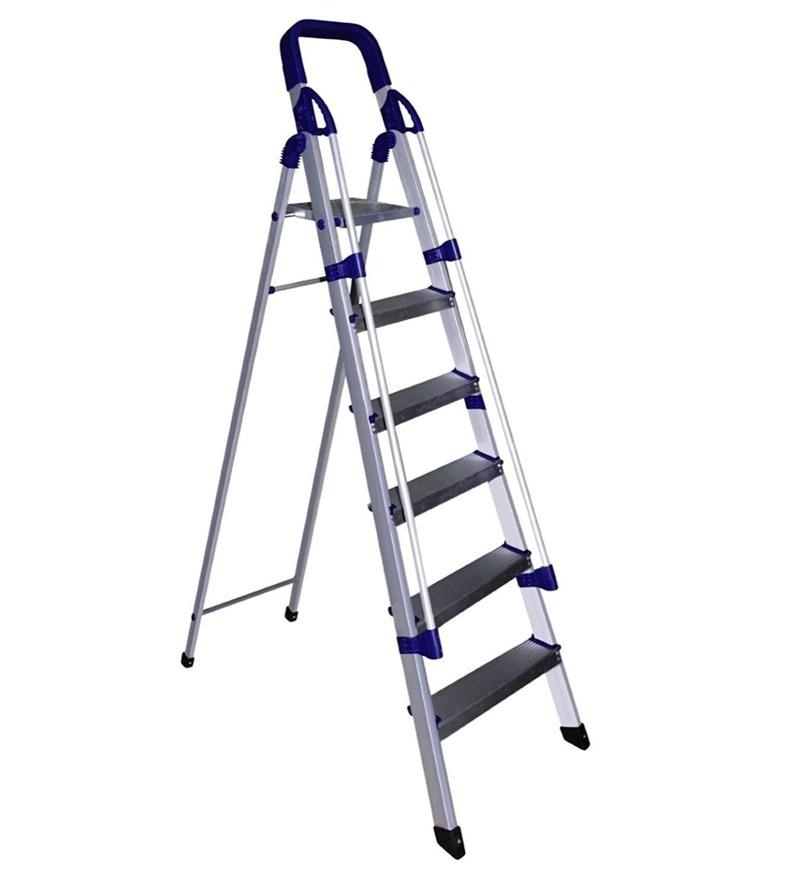 Parasnath Railing Home Pro 6 Step 6.1 Ft Light Weight Full Aluminium Heavy Duty Folding Ladder