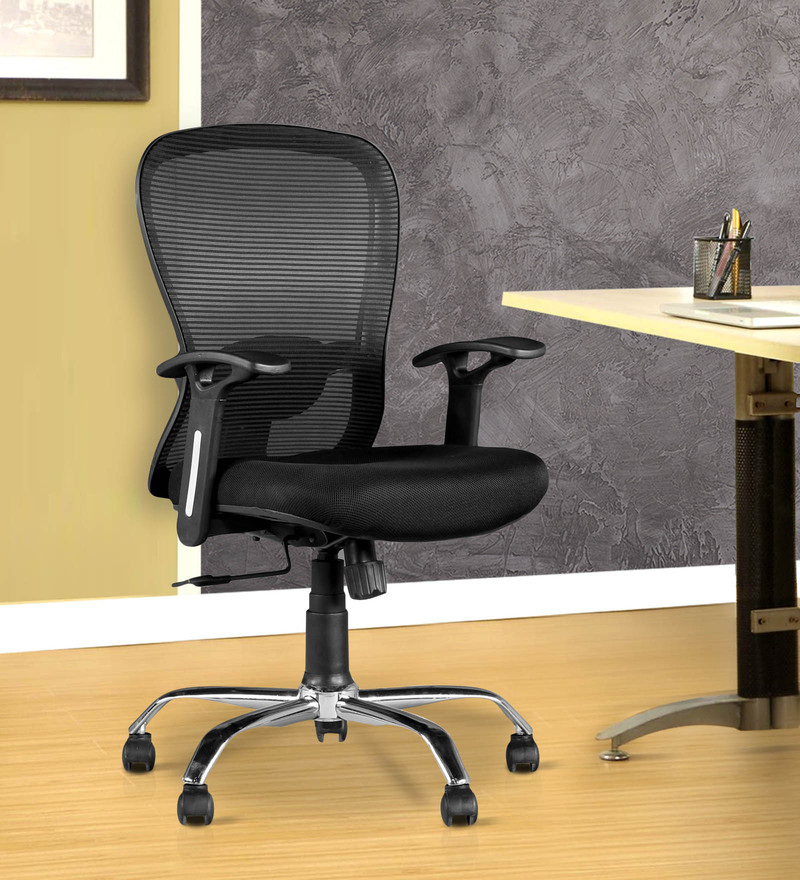 Paris Medium Back Ergonomic Chair in Black Colour by HomeTown