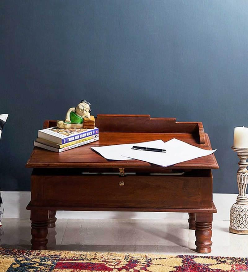 Pathana Writing Desk in Honey Oak Finish by Mudramark