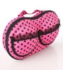 Dark Pink with Golden Polka Dots Fabric 2.8 x 1.6 x 4.6 Inch Bra Bag by PackNBUY