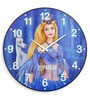 Blue Solid Wood 18 x 0.8 x 18 Inch Sand Art Wall Clock by Panash Art