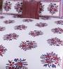 Pannaa White Cotton King Size Bed sheet - Set of 3