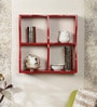Home Sparkle Red Engineered Wood Wave Book Shelf